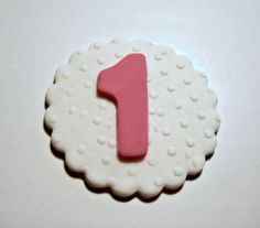 Simply Pretty White with Polka Dots & Hot Pink (or color of your choice) Fondant Cupcake, Cake, Cookie Toppers. Set of 12 (one dozen)