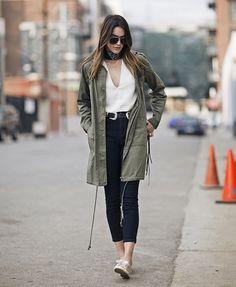 brittany xavier look calça jeans blusa parka