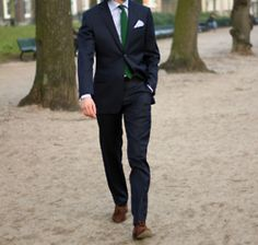 green tie & perfectly fitted suit