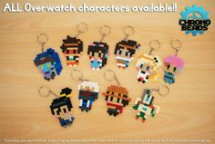 Overwatch characters keychains hama beads by ChronoBeads