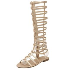 OASAP Knee High Gladiator Sandals Cut Out Flat Strappy Summer Shoes(Gold)