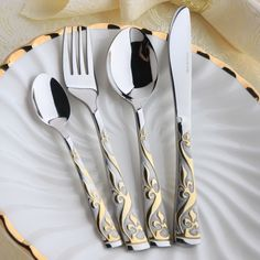 Dinnerware set royal western steak knife fork spoon set  stainless steel flatware set 4pcs per set US $30.55