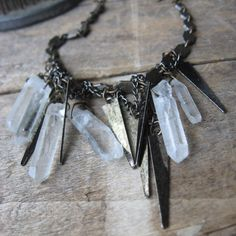 Raze the Earth-- vintage gunmetal spikes and rock crystal prisms necklace.