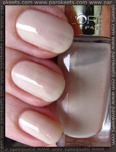 One of the prettiest nude shades on me L'Oreal Oyster Bay nail polish (855). http://www.parokeets.com/en/2014/07/loreal-oyster-bay-nail-polish-855/