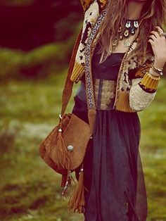 Forget the bag.. That jacket with a long black dress Boutiqu, Bohemian Fashion, Saddl Bag, Fall Outfits, Boho, Fring, Bohemian Style, Dress Designs, Style Fashion