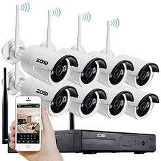 ZOSI 8 Channel 720p HD Wireless Security Camera System 8CH 720p NVR with 8 HD Outdoor Wireless IP Cameras (Auto-Pair, Built-in Router, 1.0MP Camera, No HDD) >>> More info could be found at the image url.