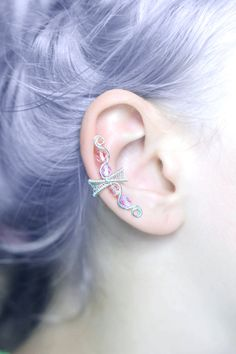 Pastel Goth EAR CUFF kawaii lavender and pink by CharmingWondersCW #charmingwonders