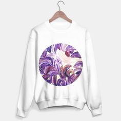 Purple Leaves with Gold Flakes Sweater
