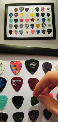 Pick your Picks holds your guitar picks without obscuring any portion of the plectrum, fits most styles and sizes of picks and is free standing or wall mountable. You can display the frame with covering glass making a great display piece, or without the glass to allow easy access and storage of your picks.