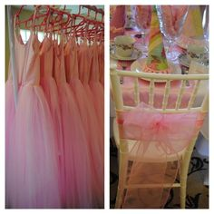 Butterfly Tea Party table set up and dresses for the girls to wear