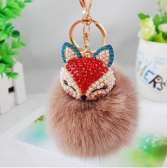 2016 New Gift Cute Bling Rhinestone Fox Real Rabbit Fur Ball Fluffy Keychain Car Key Chain Ring Pendant For Bag Charm Hotsale