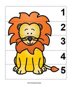 Number Sequence Preschool Picture Puzzle - Lion from Worksheet Teacher Zoo Activities Preschool, Preschool Pictures, Animal Activities, Preschool Curriculum, Preschool Worksheets, Preschool Learning, Preschool Activities, Vocabulary Activities, Animal Pictures For Kids