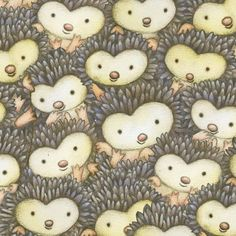 cute grey-brown hedgehog face animal fabric by Henry Glass 1