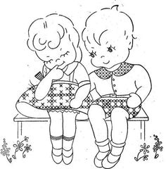 vintage embroidery designs Vintage Embroidery transfer repo 9774 Gingham Stitch Boy n Girl for Dish Towels - Embroidery Transfers, Hand Embroidery Patterns, Vintage Embroidery, Embroidery Applique, Cross Stitch Embroidery, Cross Stitch Patterns, Simple Embroidery, Embroidery Supplies, Lazy Daisy Stitch