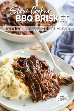 BEST SLOW COOKER RECIPE EVER! This easy Beef Brisket in the crockpot is so tender, juicy, full of flavor... and EASY to make! Just dump and slow cook all day for the best BBQ brisket at home! Serve with classic Barbecue side dishes to make a Texas style bbq dinner. This easy crockpot brisket recipe is great for a kid-friendly dinner idea! It shines as a meal on its own, but can also be made in to BBQ Brisket sandwiches, tacos, and more!