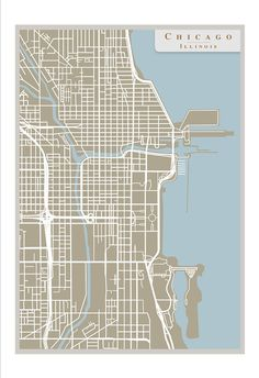 Chicago street map print