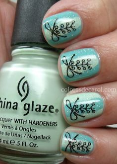 I really dig these nails, they would look awesome in your wedding colors (maybe like a silver on purple? or purple on black?)