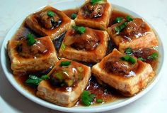 Chinese-Style Pan-Fried Stuffed Tofu With Oyster Sauce - foodista.com