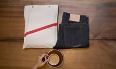 Doublewood Denim Narrow- Package  To extend the already long shelf life of our jeans, each pair of our jeans comes with a canvas bag to protect it.