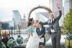 Gibbie and Tim's wedding at the @Mandy Bryant Bryant Dewey Seasons Hotel Baltimore! The groom's dad had passed away prior to their wedding, and after they were pronounced Man and Wife, he looked up and waved to his dad  #wedding #marybrunstphotography