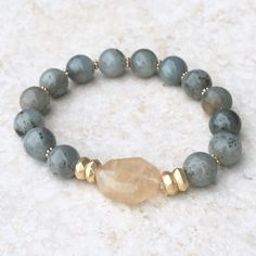 Olive Marble Beaded Bracelet