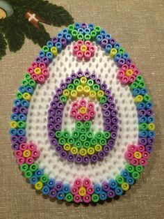 Flower Easter egg hama perler beads by Julie Loose Perler Bead Designs, Hama Beads Design, Perler Beads, Perler Bead Art, Fuse Beads, Hama Perler, Motifs Perler, Perler Patterns, Making Bracelets With Beads