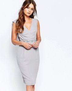 Image 2 ofElise Ryan Embellished Pencil Dress With Drape Back