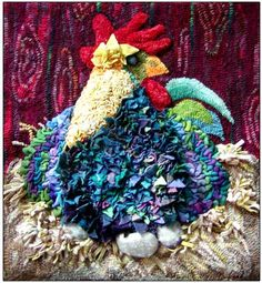 Prodded Hen by Michele Micarelli ~~ just LOVE Michele's wonderful Hen...all puffed up sitting on her proddy next & felted eggs.  Such FUN!