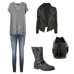This screams Rocker! Charcoal Gray V-neck with blue skinny jeans and combat boots are perfect yet subtle. And you can't achieve a full rocker look without a leather jacket!
