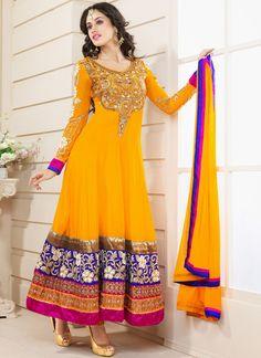 Rich Faux Georgette #Anarkali Suit @http://www.maalpani.com/latest-arrivals.html