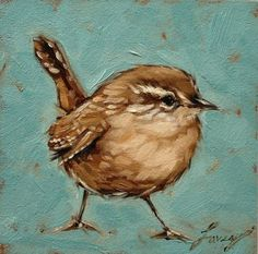 Wren painting 5x5 inch original oil painting of a by Andrea Lavery www.etsy.com/shop/LaveryART:
