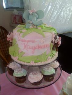 jungle animal baby shower cake and cupcakes by me