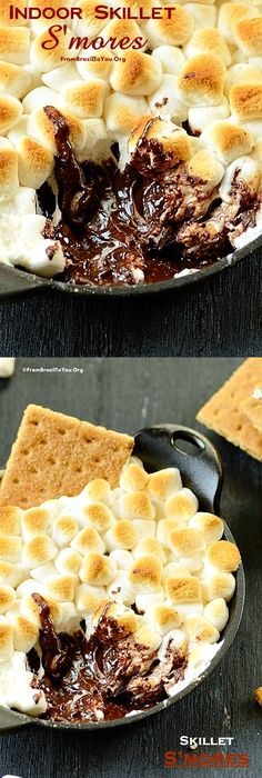 Quick, Warm, Ooey Gooey Indoor Skillet S'mores... It is to die for!!! #smores #marshmallow #chocolate #crackers #dessert #quick