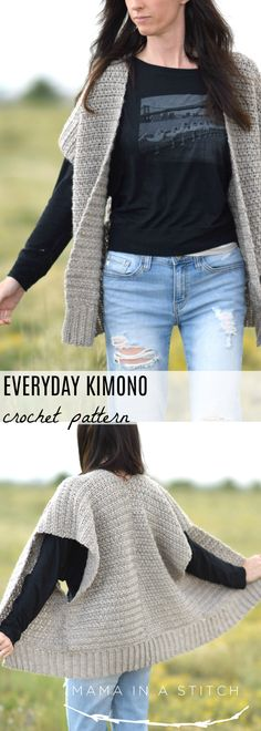 Crochet Cardigan Everyday Kimono Crochet Pattern – Mama In A Stitch - Gilet Crochet, Kimono Pattern, Crochet Cardigan Pattern, Crochet Jacket, Knit Or Crochet, Crochet Shawl, Crochet Patterns, Crochet Vests, Crochet Ideas