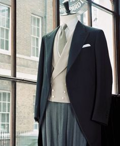 MORNING COAT: With double breasted waistcoat in cream Hopsack with white Marcella Demis. Cut from fine herringbone with silk braid sewn to the edges. Groom Morning Suits, Wedding Morning Suits, Morning Coat, Morning Dress, Wedding Outfits For Groom, Wedding Suits, Groom Suit Vintage, Double Breasted Waistcoat, Wedding Coat