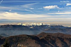 View of the Slovenian mountains from the peak of Mrzlica in the Sava Hills