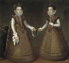 Las infantas Isabel Clara Eugenia y Catalina Micaela, hijas de Felipe II e Isabel de Valois. Pintadas por Sánchez Coello hacia 1575. Museo del Prado