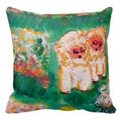 Little Lamb Playing in the Flowers Designer Pillow by artist Marie-Jose Pappas of Innocent Originals