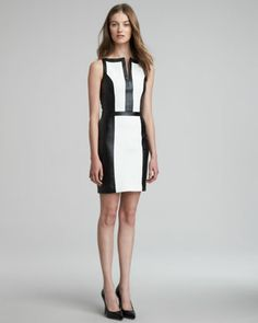 Colorblock+Faux-Leather+Dress+by+Robert+Rodriguez+at+Neiman+Marcus.