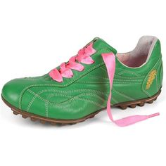 shop Italian leather ladies golf shoes from Henry & Magda including the Vitello/Nappa Verde Golf Shoe in Green with Pink ribbon laces. Golf Magazine, Golf Outing, Womens Golf Shoes, Ladies Shoes, Golf Attire, Colorful Shoes, Golf Fashion, Ladies Golf, Italian Leather