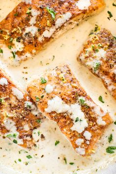 Tender pan-seared salmon in a creamy lemon garlic butter sauce is easy, quick, and sure to become a family favorite dinner! This creamy lemon salmon recipe is fast, decadent, and makes an easy family dinner that's ready in only 20 minutes! Tuscan Salmon Recipe, Salmon Recipes, Fish Recipes, Seafood Recipes, Cooking Recipes, Dinner Recipes, Meal Recipes, Dessert Recipes, Recipes