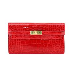 HERMES Kelly wallet / clutch Braise Alligator gold hardware nwt / box divine | From a collection of rare vintage handbags and purses at http://www.1stdibs.com/fashion/accessories/handbags-purses/
