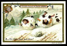 "Trade cardvChildren in Snowballs #3  Liebig's Beef Extract ""Children in Snowballs"" Belgian issue, 1897"
