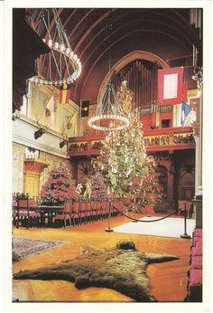 Postcard Christmas Tree Biltmore Estate Asheville NC Banquet Hall