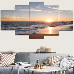Sunset Beach Pattern Unframed Decorative Canvas Paintings - COLORFUL 1PC:8*20,2PCS:8*12,2PCS:8*16 INCH( NO FRAME )