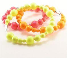 @Christine Palazzolo-Edwards 3 Neon bracelets  pink yellow orange  by MissingLinkJewelers