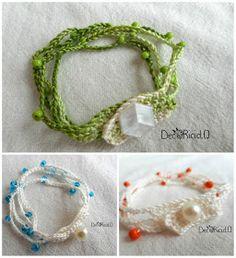 decoriciclo: Braccialetti multi-fili all'uncinetto, di cotone e perline con bottone, con tutorial e spiegazioni Tatting, Knots, Crochet Earrings, Bracelets, Beads, Hobby, Jewelry, Diy Jewellery, Crafts