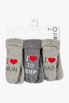 Babys - Baby-Socken - 3 Paar - hellgrau-Melange I Love Mum - I Love To Sleep - I Love Dad Newborn Outfits, Baby Gifts, Baby Shoes, Dads, Sustainable Fashion, Cute Babies, Baby Boy Shoes, Fathers, Gifts For Kids