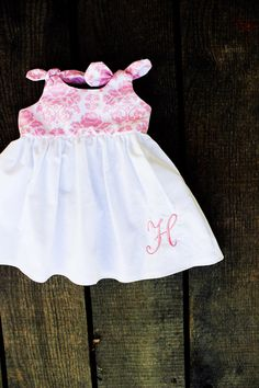 Pink damask Monogrammed dress newborn 0-3, 3-6, 6-12, 12-18, 18-24 months dress coming home outfit christening baptism easter on Etsy, $18.00