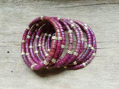 Coconut bead bracelet in memory wire